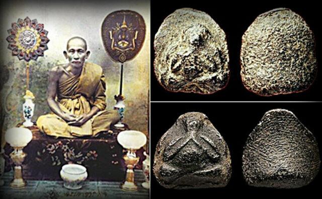 LP Sukh with his famous Pra Pid Ta Pim Pum Bpong Amulets