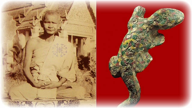 Luang Por Kreun with one of his famous hand molded Dtugkhae Giant Gecko Amulets